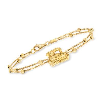 C. 1980 Vintage 18kt Yellow Gold Train Double-Strand Beaded Bracelet, , default