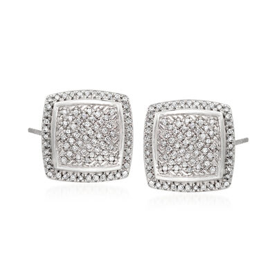 .23 ct. t.w. Pave Diamond Square Earrings in Sterling Silver