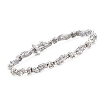 1.00 ct. t.w. Diamond Wavy Bracelet in Sterling Silver, , default