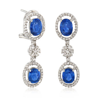 3.40 ct. t.w. Sapphire and .55 ct. t.w. Diamond Drop Earrings in 18kt White Gold