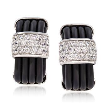 "Belle Etoile ""Adagio"" 1.00 ct. t.w. CZ and Black Rubber Earrings in Sterling Silver, , default"