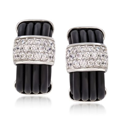 "Belle Etoile ""Adagio"" 1.00 ct. t.w. CZ and Black Rubber Earrings in Sterling Silver, , default"