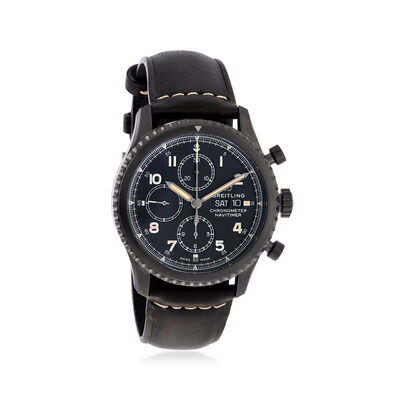 Breitling Navitimer 8 Auto Chronograph 43mm Men's Black Stainless Steel and Black Leather Watch