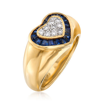 C. 1980 Vintage .80 ct. t.w. Sapphire and .15 ct. t.w. Diamond Heart Ring in 18kt Yellow Gold. Size 6.75
