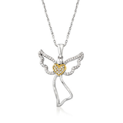 .15 ct. t.w. Diamond Angel Pendant Necklace in Sterling Silver and 18kt Gold Over Sterling