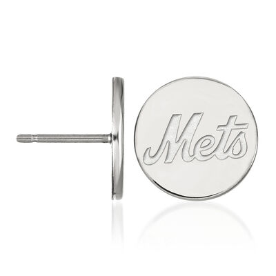 Sterling Silver MLB New York Mets Small Disc Earrings, , default