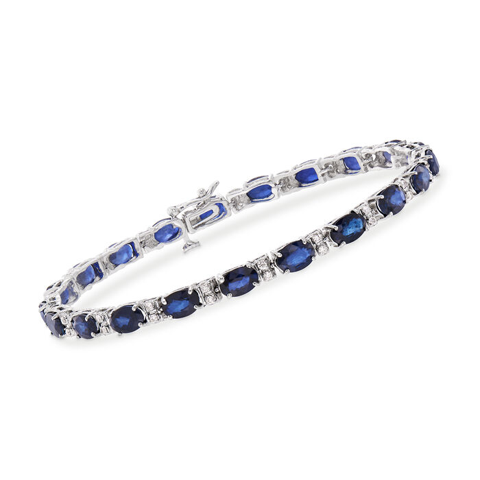 """12.50 ct. t.w. Sapphire and .45 ct. t.w. Diamond Line Bracelet in 14kt White Gold. 7"""", , default"""