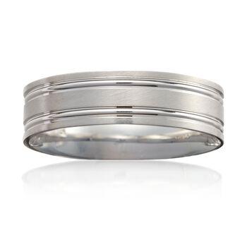 Men's 6mm 14k White Gold Wedding Ring, , default