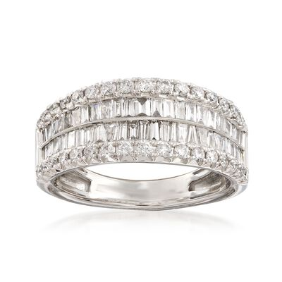 1.00 ct. t.w. Baguette and Round Diamond Four-Row Ring in 14kt White Gold, , default
