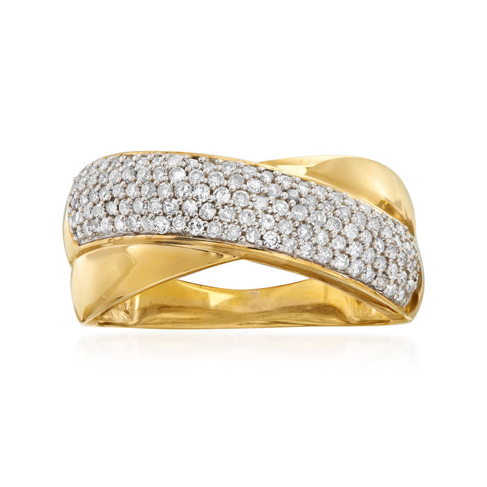 .50 ct. t.w. Pave Diamond Crisscross Ring in 18kt Gold Over Sterling