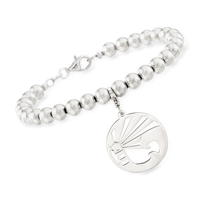 Sterling Silver Lighthouse Charm Bead Bracelet, , default