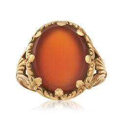 C. 1930 Vintage Men's Red Carnelian Ring in 14kt Yellow Gold, , default
