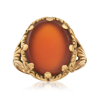C. 1930 Vintage Men's Red Carnelian Ring in 14kt Yellow Gold. Size 11, , default