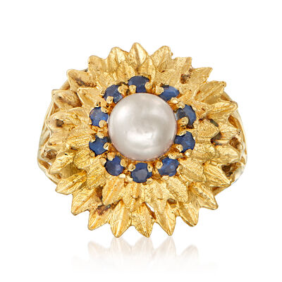 C. 1970 Vintage 6.5mm Cultured Pearl and .60 ct. t.w. Sapphire Flower Ring in 14kt Yellow Gold, , default