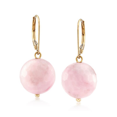 12mm Pink Opal Bead Drop Earrings in 14kt Yellow Gold