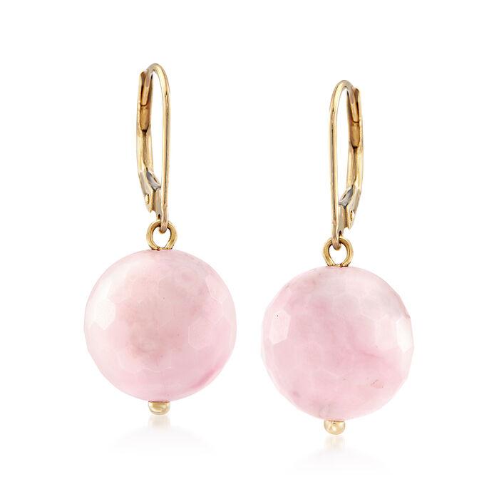 12mm Pink Opal Bead Drop Earrings in 14kt Yellow Gold