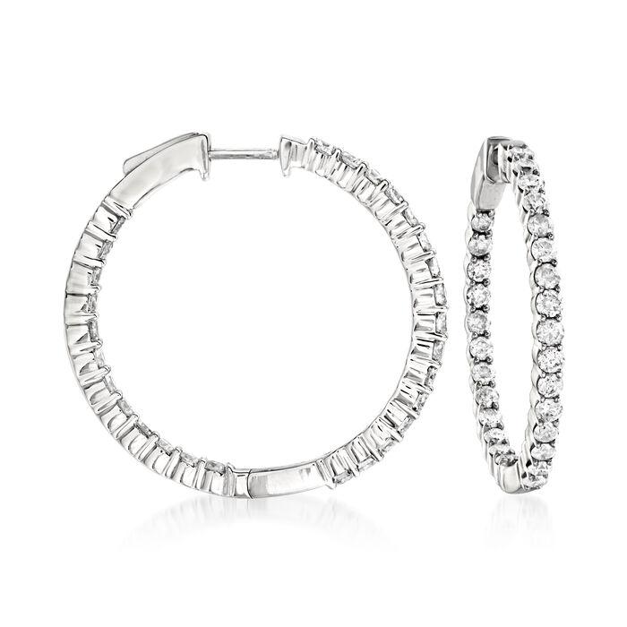 2.00 ct. t.w. Diamond Inside-Outside Hoop Earrings in 14kt White Gold