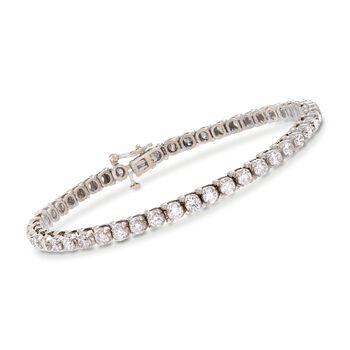 "C. 1990 Vintage 6.00 ct. t.w. Diamond Tennis Bracelet in 14kt White Gold. 7"", , default"