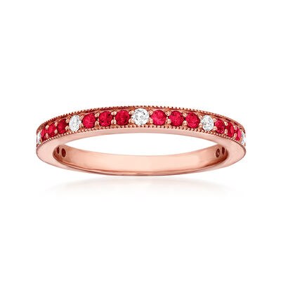 .30 ct. t.w. Ruby and .13 ct. t.w. Diamond Ring in 14kt Rose Gold, , default