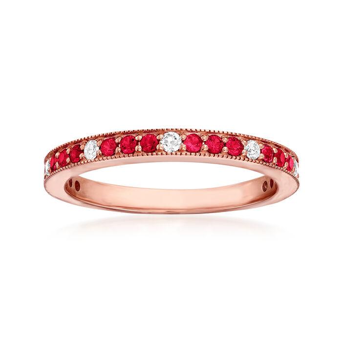 .30 ct. t.w. Ruby and .13 ct. t.w. Diamond Ring in 14kt Rose Gold