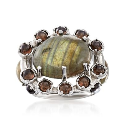 Multicolored Labradorite and 2.10 ct. t.w. Smoky Quartz Ring in Sterling Silver