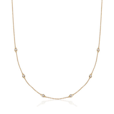 .19 ct. t.w. Bezel-Set Diamond Station Necklace in 14kt Yellow Gold, , default