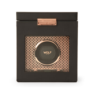 "Wolf ""Axis"" Copper-Plated Steel Single Watch Winder with Storage, , default"