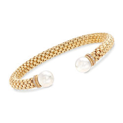 9.5-10mm Cultured Pearl and .25 ct. t.w. CZ Italian Cuff Bracelet in 18kt Yellow Gold Over Sterling, , default