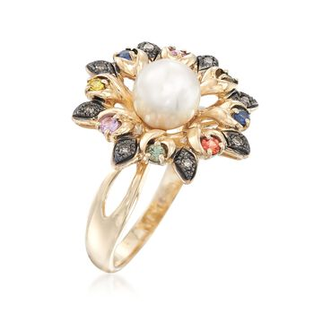 7-7.5mm Cultured Pearl and .27 ct. t.w. Multicolored Sapphire Flower Ring With Brown Diamond Accents in 14kt Yellow Gold, , default