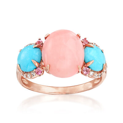 Pink Opal, Turquoise and .21 ct. t.w. Mixed Gemstone Ring in 14kt Rose Gold, , default