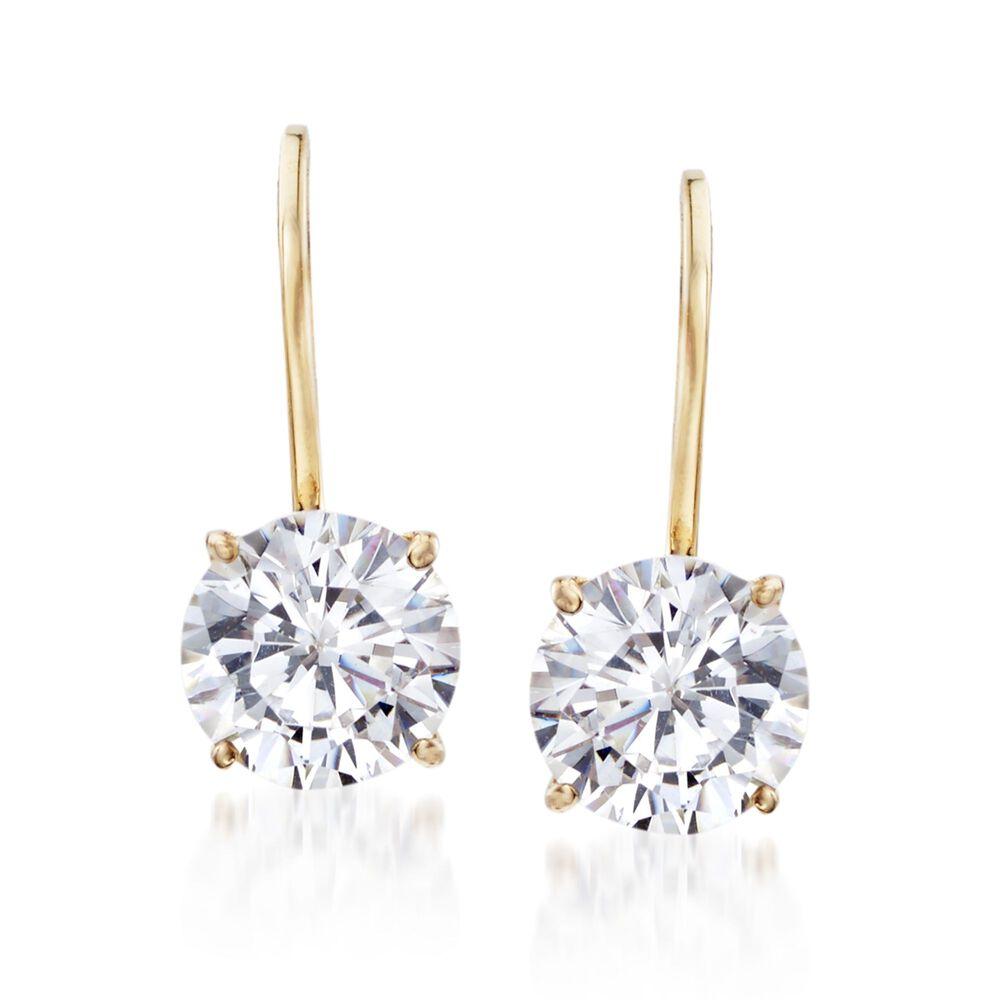 T W Cz Drop Earrings In 14kt Yellow Gold Default