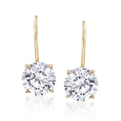 2.00 ct. t.w. CZ Drop Earrings in 14kt Yellow Gold , , default