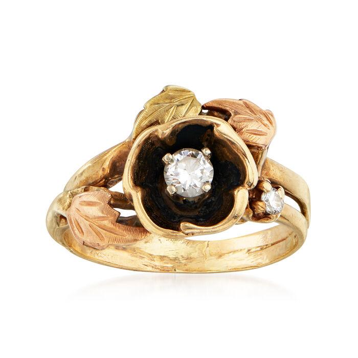 C. 1970 Vintage .20 Carat Diamond Flower Ring in 10kt Yellow Gold. Size 6, , default