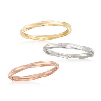 18kt Tri-Colored Gold Jewelry Set: Three Twisted Rings, , default