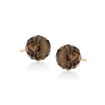 3.80 ct. t.w. Smoky Quartz Stud Earrings in 14kt Yellow Gold, , default