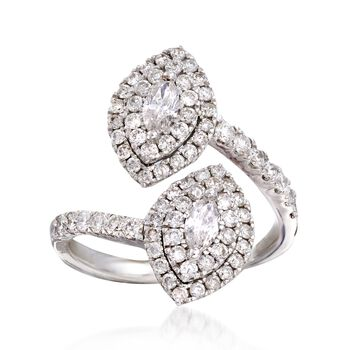 1.33 ct. t.w. Double Marquise Diamond Bypass Ring in 14kt White Gold. Size 5, , default