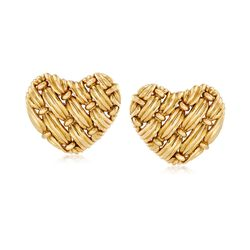C. 1992 Vintage Tiffany Jewelry 18kt Yellow Gold Basketweave Heart Clip-On Earrings , , default