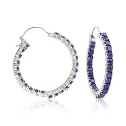 "6.00 ct. t.w. Sapphire Inside-Outside Hoop Earrings in Sterling Silver. 1 3/8"", , default"