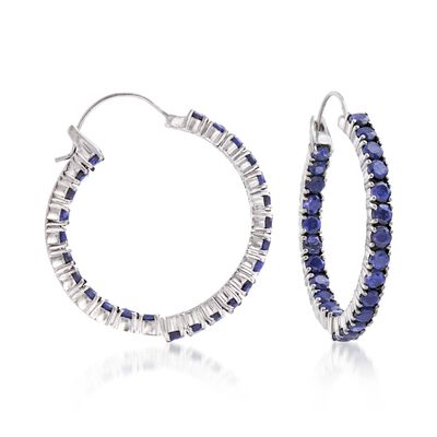 6.00 ct. t.w. Sapphire Inside-Outside Hoop Earrings in Sterling Silver , , default