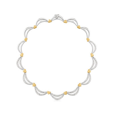 C. 1990 Vintage 3.00 ct. t.w. Diamond Scalloped Necklace in 14kt Two-Tone Gold