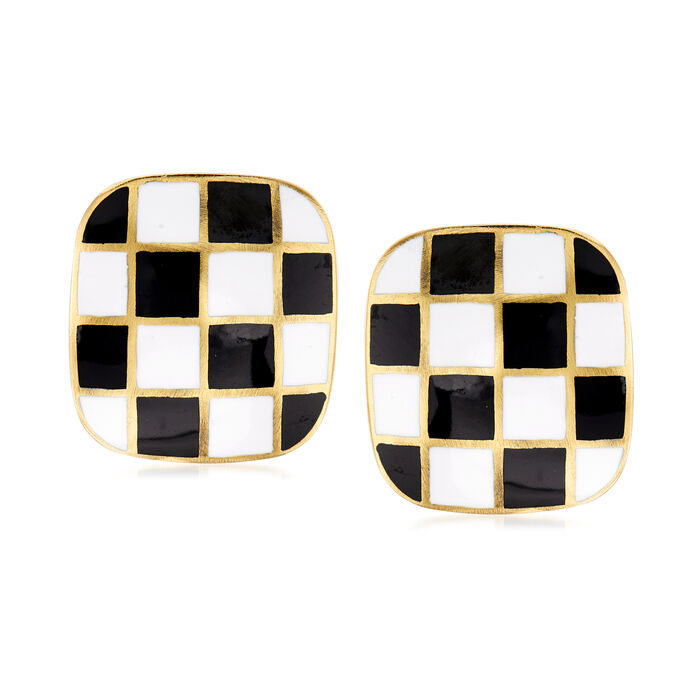 C. 1970 Vintage Black and White Enamel Clip-On Earrings in 18kt Yellow Gold, , default
