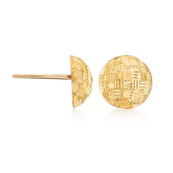 Italian 18kt Yellow Gold Diamond-Cut Dome Stud Earrings, , default