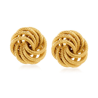 Italian 14kt Yellow Gold Textured Love Knot Stud Earrings