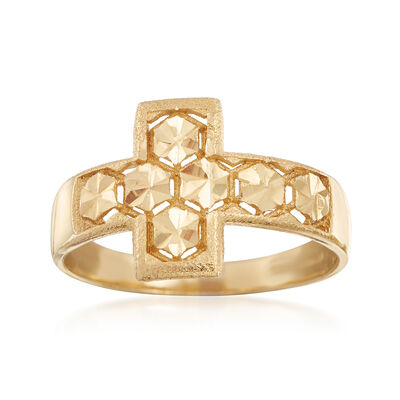 Italian 18kt Yellow Gold Cross Ring, , default