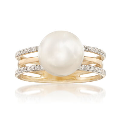 10-10.5mm Cultured Pearl and .23ct. t.w. Diamond Three-Row Ring in 14kt Yellow Gold, , default