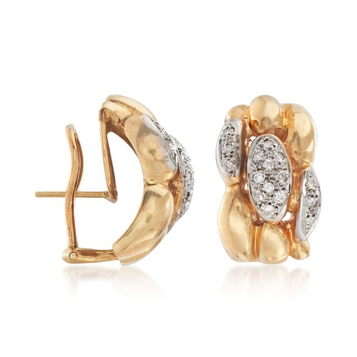 C. 1980 Vintage .40 ct. t.w. Pave Diamond Earrings in 14kt Yellow Gold