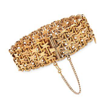 """C. 1970 Vintage 18kt Yellow Gold Wide Basketweave Bracelet. 7.5"""", , default"""