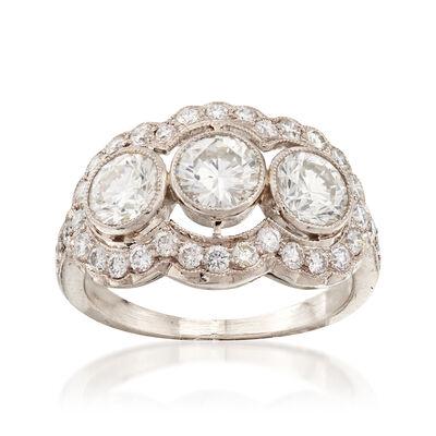 C. 1980 Vintage 2.15 ct. t.w. Diamond Three-Stone Ring in 18kt White Gold, , default