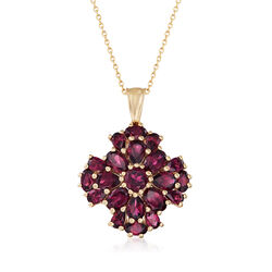 "7.70 ct. t.w. Rhodolite Garnet Cluster Pendant Necklace in 14kt Gold Over Sterling. 18"", , default"