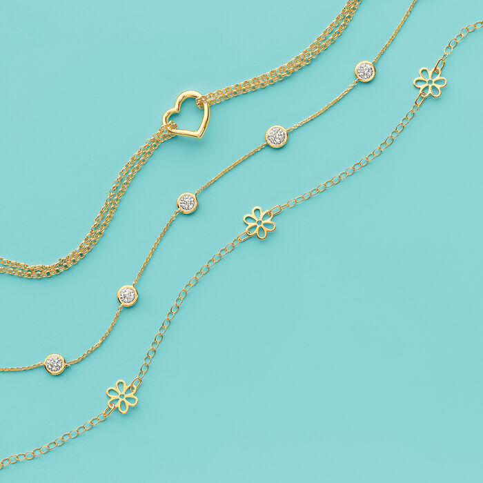 Italian 14kt Yellow Gold Floral Station Anklet